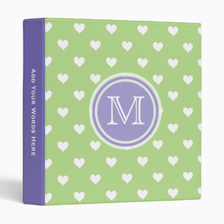 Monogram: Purple Green White Heart Binder