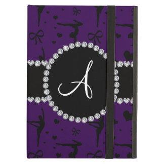 Monogram purple gymnastics hearts bows iPad air cases