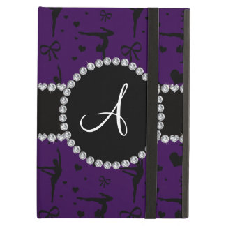Monogram purple gymnastics hearts bows iPad air cover