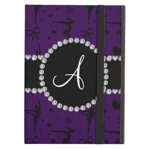Monogram purple gymnastics hearts bows iPad air cover