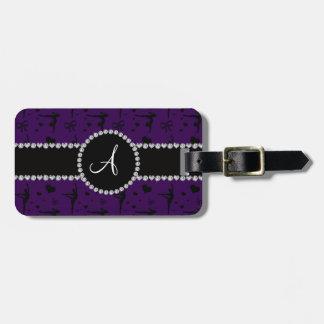 Monogram purple gymnastics hearts bows travel bag tag