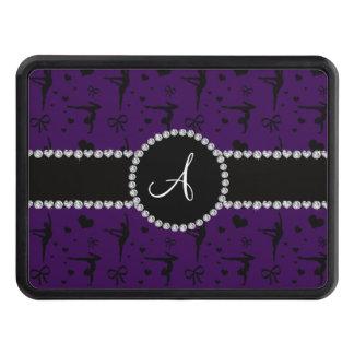 Monogram purple gymnastics hearts bows tow hitch cover