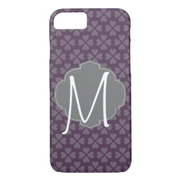 partridgelanestudio Monogram Purple Heart With Vintage Label iPhone 7 Case