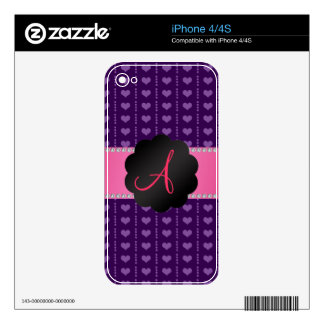 Monogram purple hearts and dots skins for iPhone 4S