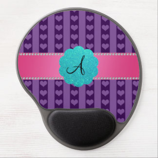 Monogram purple hearts and stripes gel mouse pads