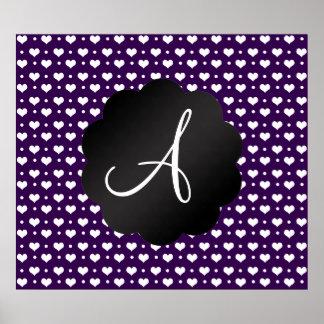 Monogram purple hearts polka dots poster