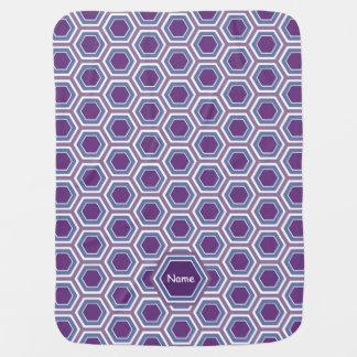 Monogram Purple Honeycomb - Baby Blanket