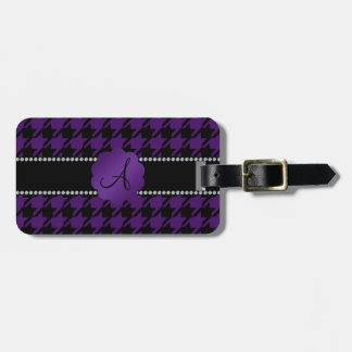 Monogram purple houndstooth tags for bags