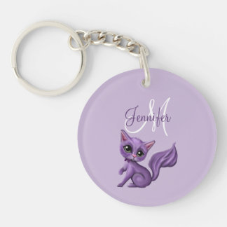 Monogram Purple Kitty Keychain