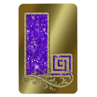 Monogram Purple L Rectangular Photo Magnet