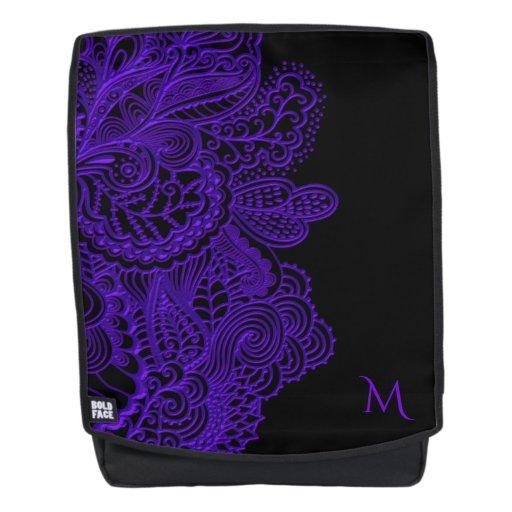 Monogram Purple Lace Black Backpack