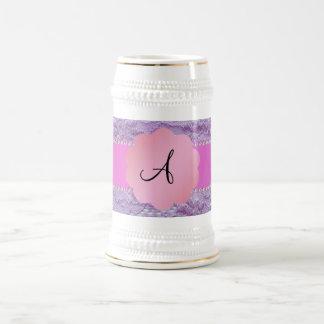 Monogram purple lace coffee mug