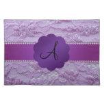 Monogram purple lace place mats