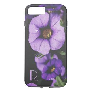 Monogram Purple, Lavender Petunia Flower Blossoms iPhone 7 Plus Case