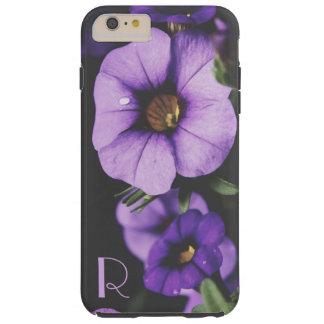Monogram Purple, Lavender Petunia Flower Blossoms Tough iPhone 6 Plus Case