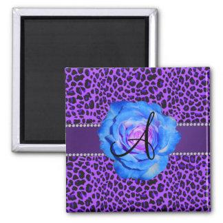 Monogram purple leopard blue rose magnet