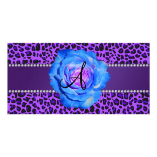 Monogram purple leopard blue rose photo card