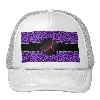 Monogram purple leopard trucker hat