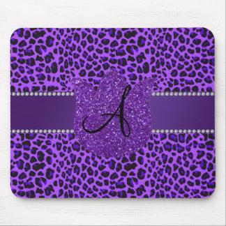 Monogram purple leopard mouse pad