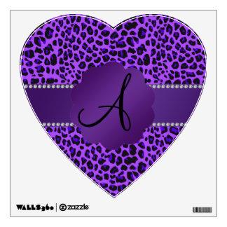 Monogram purple leopard pattern wall sticker