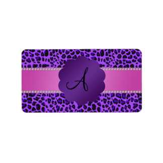 Monogram purple leopard print label