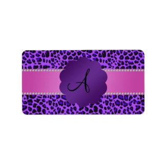 Monogram purple leopard print label