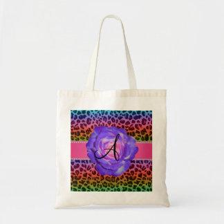 Monogram purple leopard purple rose canvas bags