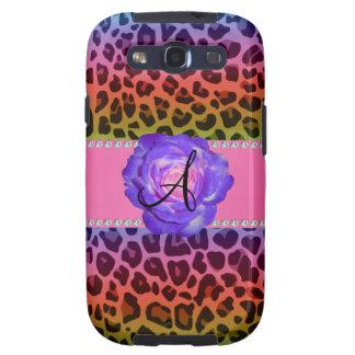 Monogram purple leopard purple rose galaxy SIII case
