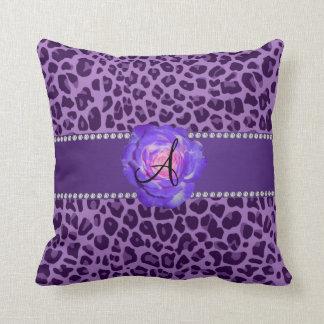 Monogram purple leopard purple rose pillow