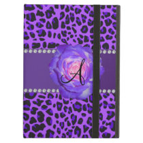 Monogram purple leopard rose iPad air case