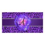 Monogram purple leopard rose photo card template