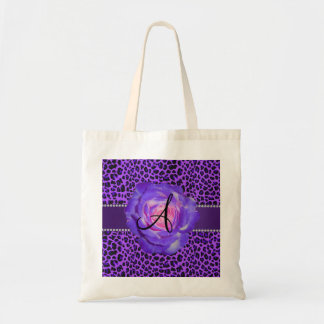Monogram purple leopard rose tote bag