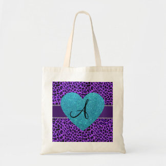 Monogram purple leopard turquoise heart budget tote bag