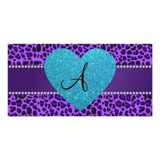 Monogram purple leopard turquoise heart customized photo card