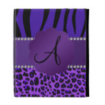 Monogram purple leopard zebra pattern iPad folio covers