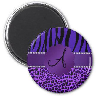 Monogram purple leopard zebra pattern magnet