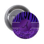 Monogram purple leopard zebra pattern pin