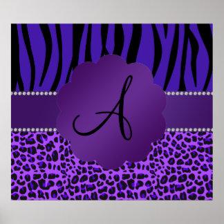 Monogram purple leopard zebra pattern poster