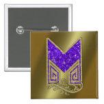Monogram Purple M 2 Inch Square Button