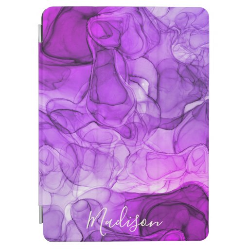 Monogram purple marbling dreams iPad air cover