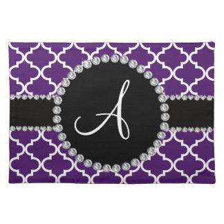 Monogram purple moroccan quatrefoil placemats