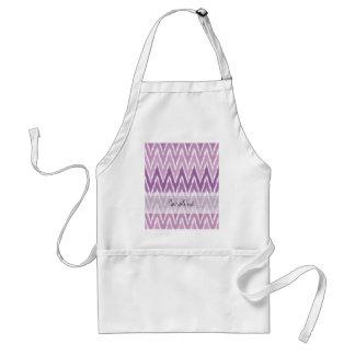 Monogram Purple Ombre Ikat Chevron Zig Zag Pattern Adult Apron