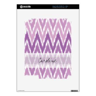 Monogram Purple Ombre Ikat Chevron Zig Zag Pattern Decal For The iPad 2