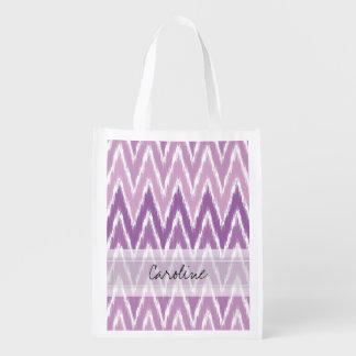 Monogram Purple Ombre Ikat Chevron Zig Zag Pattern Reusable Grocery Bags