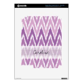Monogram Purple Ombre Ikat Chevron Zig Zag Pattern Skin For iPad 3