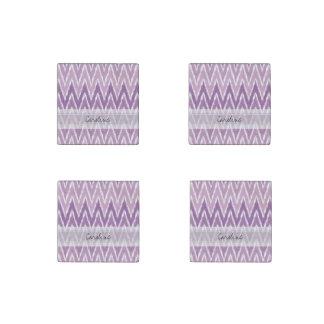 Monogram Purple Ombre Ikat Chevron Zig Zag Pattern Stone Magnet