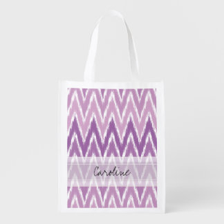 Monogram Purple Ombre Ikat Chevron Zig Zag Pattern Grocery Bags