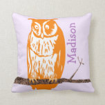 Monogram Purple Orange Coral Baby Girl Vintage Owl Pillows