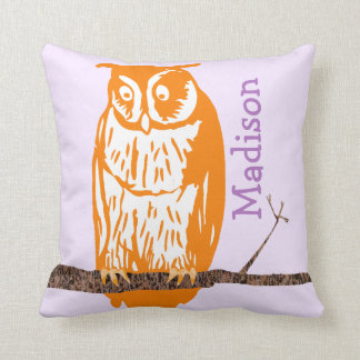 Monogram Purple Orange Coral Baby Girl Vintage Owl Throw Pillow
