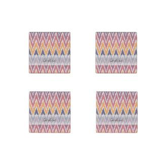Monogram Purple Orange Ikat Chevron Zig Zag Pattrn Stone Magnet
